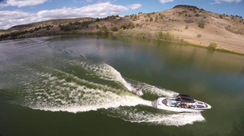 Overhead drone shot surf boat